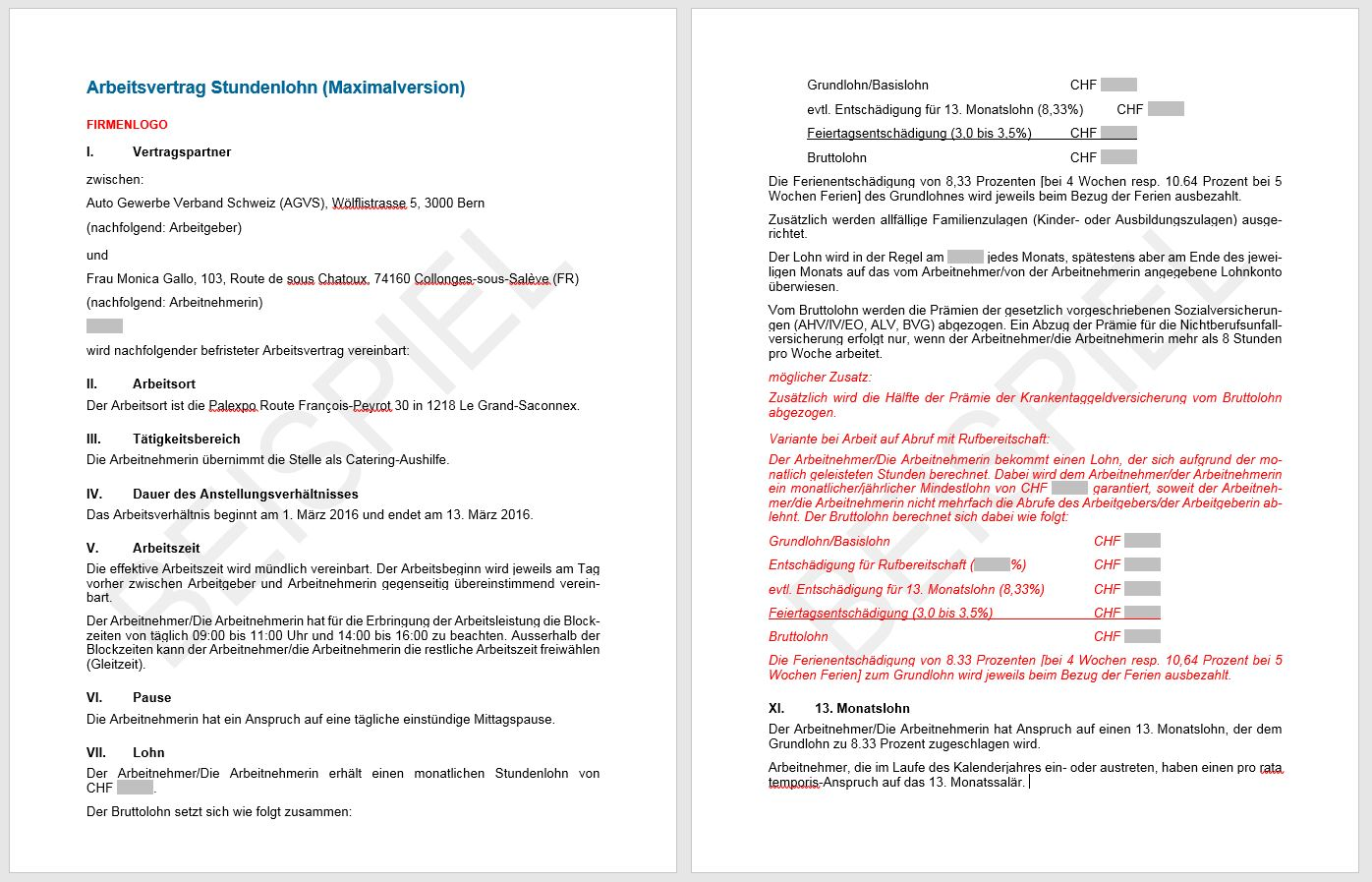 Download Arbeitsvertrag Stundenlohn Agvs Upsa Sektion Aargau